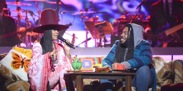 LAS VEGAS, NV - NOVEMBER 06:  Honoree Erykah Badu (L) and recording artist D.R.A.M. perform onstage during the 2016 Soul Train Music Awards at the Orleans Arena on November 6, 2016 in Las Vegas, Nevada.  (Photo byMindy Small/FilmMagic)