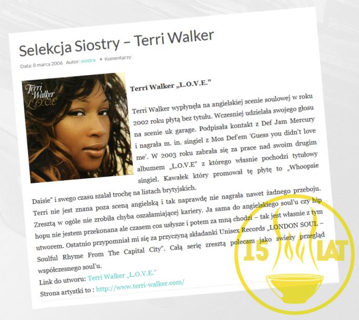 Terri Walker rozpoczęła nasze blogowanie